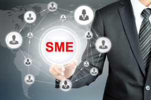 Businessman pointing on SME (Small & Medium Enterprise) sign on virtual screen with people icons linked as network
