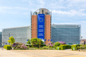 BRUSSELS,BELGIUM - MAY 18,2018 - View at the Berlaymont building (European Commission) in Brussels. Brussels is the capital of Belgium.